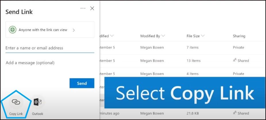 onedrive share files and folder using limnk
